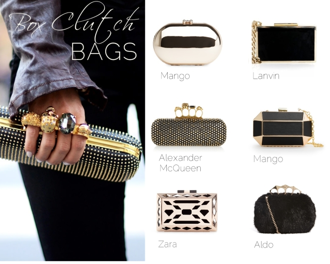Trendy box clutch bags for the holidays - by Myra Madeleine
