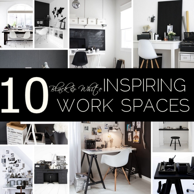 10 inspiring work spaces in Black & White - by Myra Madeleine