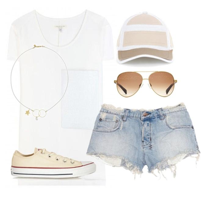 short denim, converse sneakers, warby parker sunnies, white tee, cap | Myra Madeleine
